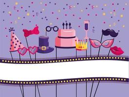 conjunto de decoração feliz aniversário vetor