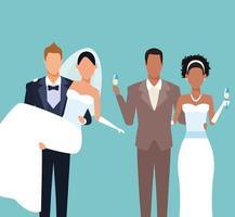 Desenho de casais de casamento
