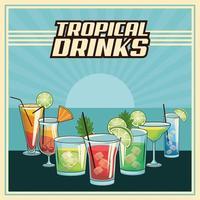 Cartaz de bebidas tropicais retrô vetor