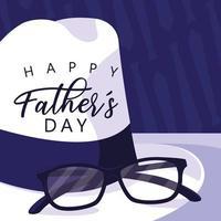 cartão de dia dos pais feliz com chapéu e óculos cavalheiro
