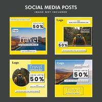 Design promocional de postagem social da oferta de viagens