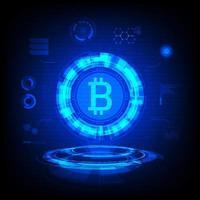 Símbolo de Bitcoin Holograma vetor