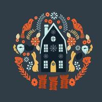 Padrão escandinavo de arte folclórica com casa e flores