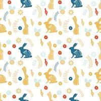 Padrão escandinavo de arte folclórica com coelhos e flores