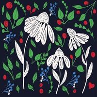 Flor prado fundo colorido vector