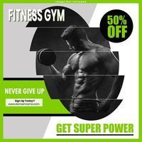 Design de post de mídia social de ginásio de fitness
