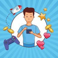 Desenhos animados de jogos de adolescente e smartphone vetor