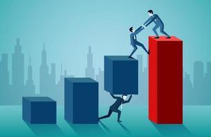 Um homem de negócios está ajudando a puxar outro para cima no gráfico de barras vermelho vetor