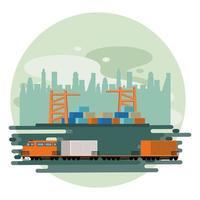 Design moderno de transporte e trem
