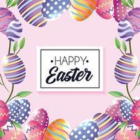 Emblema de feliz Páscoa com decorações de ovos e folhas de plantas