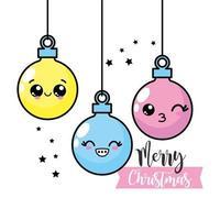 enfeites de natal feliz kawaii vetor