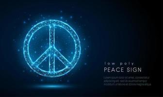 Abstact sinal de paz. Design de estilo baixo poli