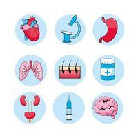 conjunto de ícones de consulta médica, tratamento, diagnóstico e doença