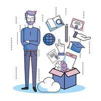 homem com livro, chapéu de formatura e outros itens de educação saindo de uma caixa