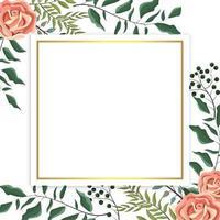 cartão com contorno dourado e rosas, galhos e folhas