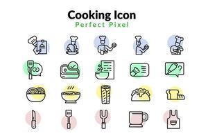 Conjunto de ícones de cozinha vetor