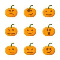 Conjunto de emoção de abóbora de halloween dos desenhos animados