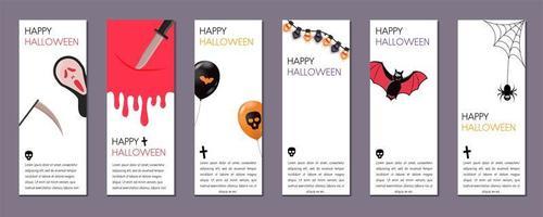 Conjunto de banners verticais de Halloween com símbolos de Halloween em fundo branco.