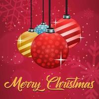 Saudação de feliz Natal com enfeites vetor