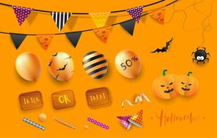 Elementos de festa feliz dia das bruxas vetor