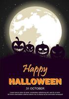 Cartaz de festa de Halloween com lua e Jack-O-lanternas vetor