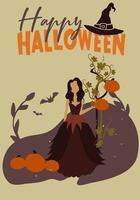 Cartaz de festa de Halloween com bruxa vetor