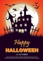 Cartaz de festa de Halloween com casa assombrada, lua e morcegos vetor
