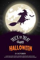 Cartaz de festa de Halloween com bruxa andando na vassoura vetor