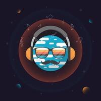 Cara do mundo da música no espaço