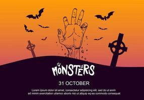 Cartaz de festa de Halloween com mão no cemitério vetor