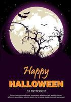Cartaz de festa de Halloween com lua, árvores e morcegos vetor