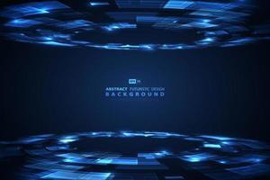 Fundo projetado futurista de tecnologia azul vetor