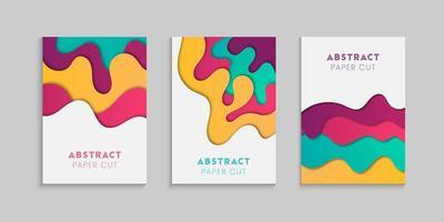 conjunto de cartaz ondulado de estilo de corte de papel vetor