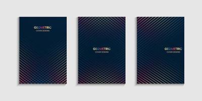 conjunto de cartaz de linhas geométricas vetor