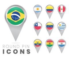 Ícones de pino redondo de bandeiras da América do Sul vetor