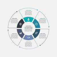 Modelo de infográfico de processo de círculo de negócios vetor