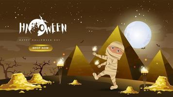 Múmia com ouro e pirâmide no Halloween vetor