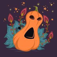 Abóbora de Halloween com rosto assustador vetor