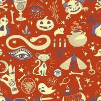 Vintage padrão de halloween com elementos mágicos vetor