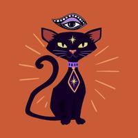 Gato preto terceiro olho vetor