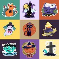 Conjunto de adesivos de Halloween vetor