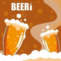 Copos de cerveja ícone isolado vetor