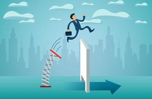 Empresários pulando de trampolim vetor