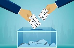 Mão política de votação segurando o conceito de eleição vetor