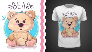 Fofo urso de pelúcia - ideia para imprimir t-shirt vetor
