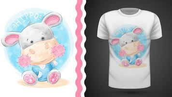 Waercolor hippo - idéia para impressão t-shirt