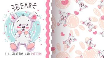 Urso de pelúcia engraçado - padrão sem emenda vetor