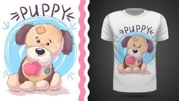 Filhote de cachorro com coração - ideia para imprimir t-shirt