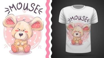 Rato de peluche fofo - ideia para imprimir t-shirt vetor