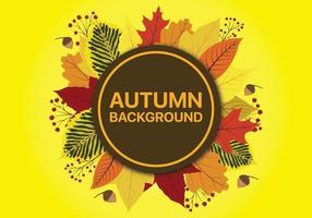 Fundo de Outono com folhas caindo e espaço para o círculo de texto